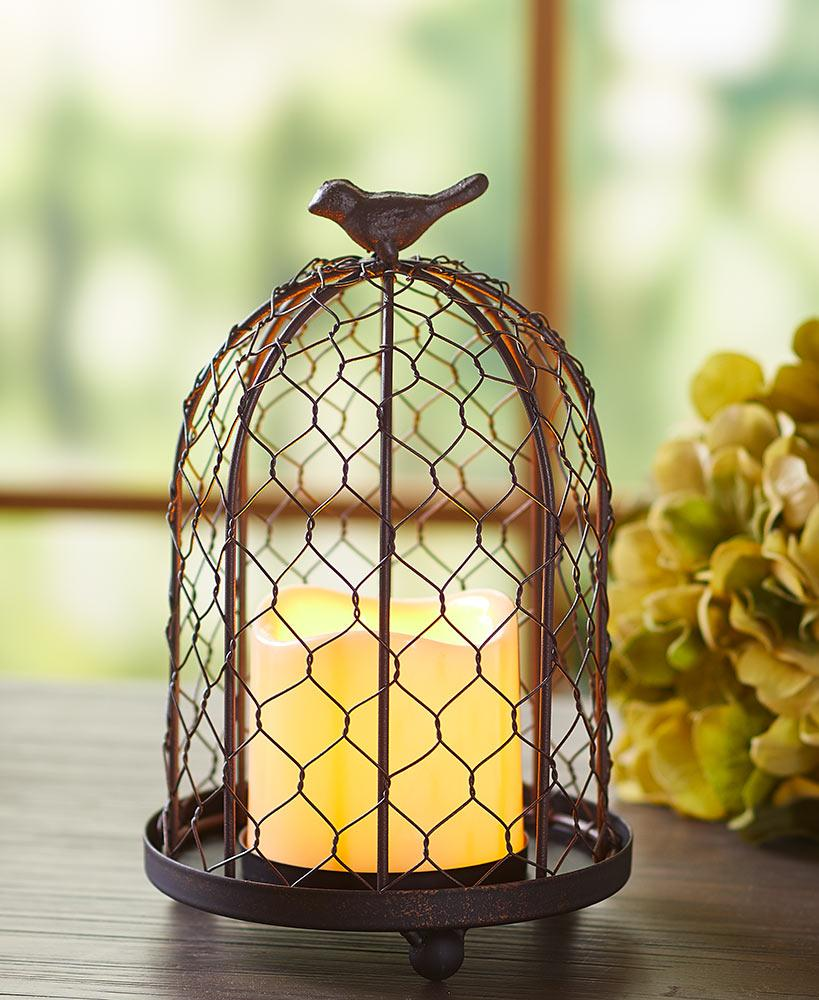 Rustic Birdcage with LED Candle Home - Decor Accents Tigerlily and Me