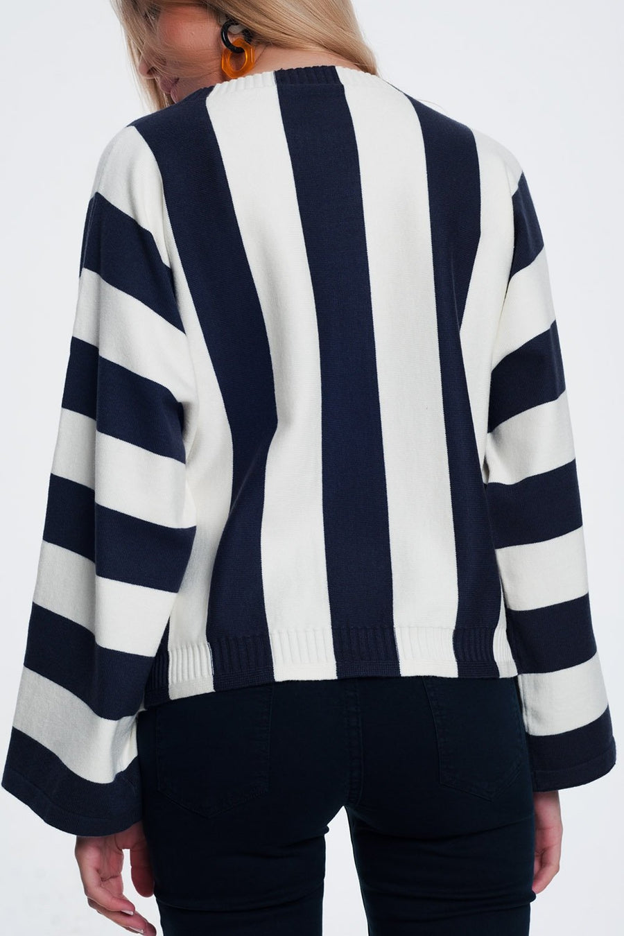 Scoop Neck Sweater in Mono Stripe