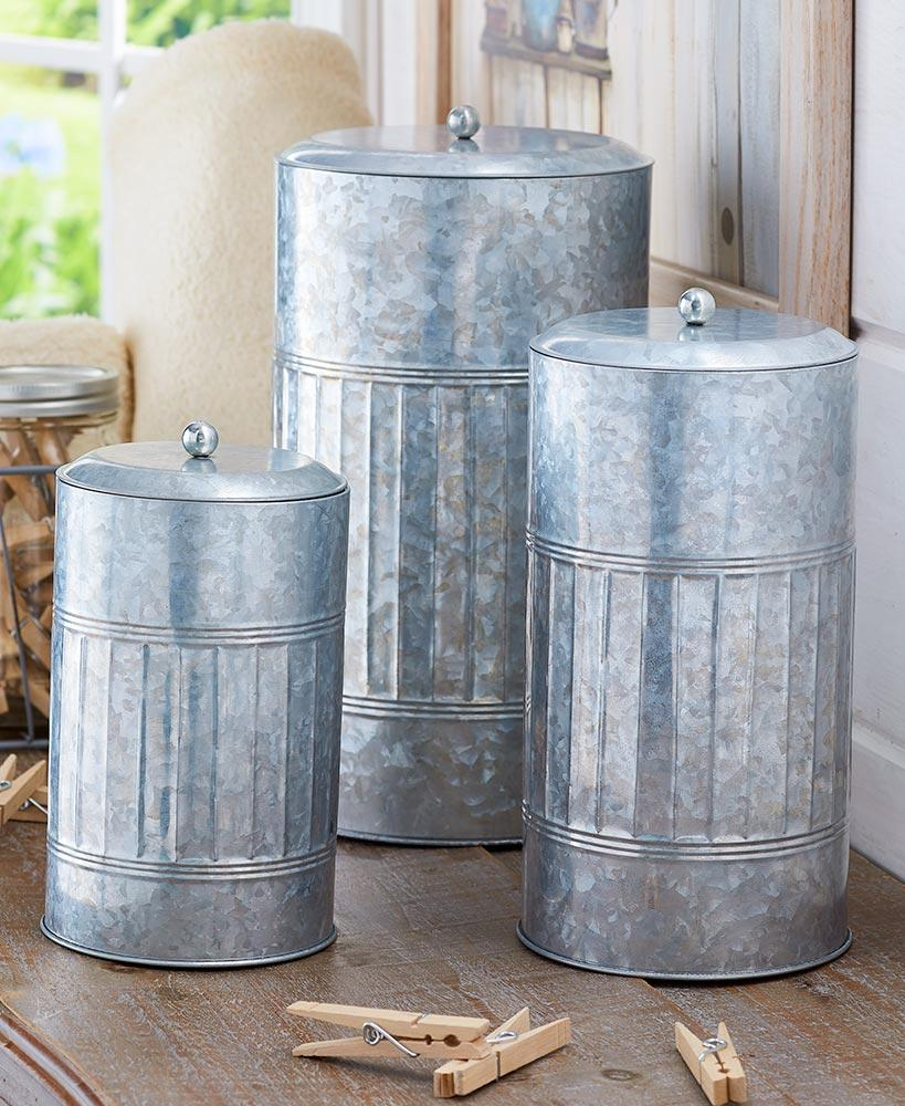 Set of 3 Galvanized Storage Containers Home - Storage Tigerlily and Me