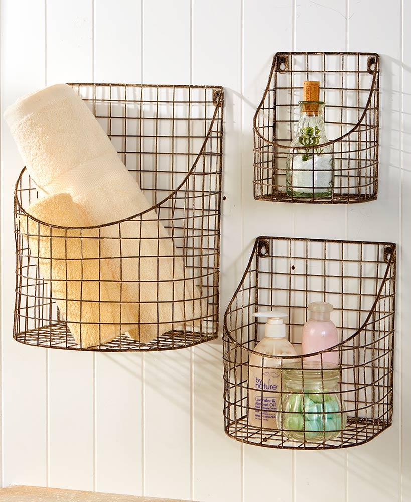 Set of 3 Rustic Farmhouse Wall Baskets Home - Storage Tigerlily and Me