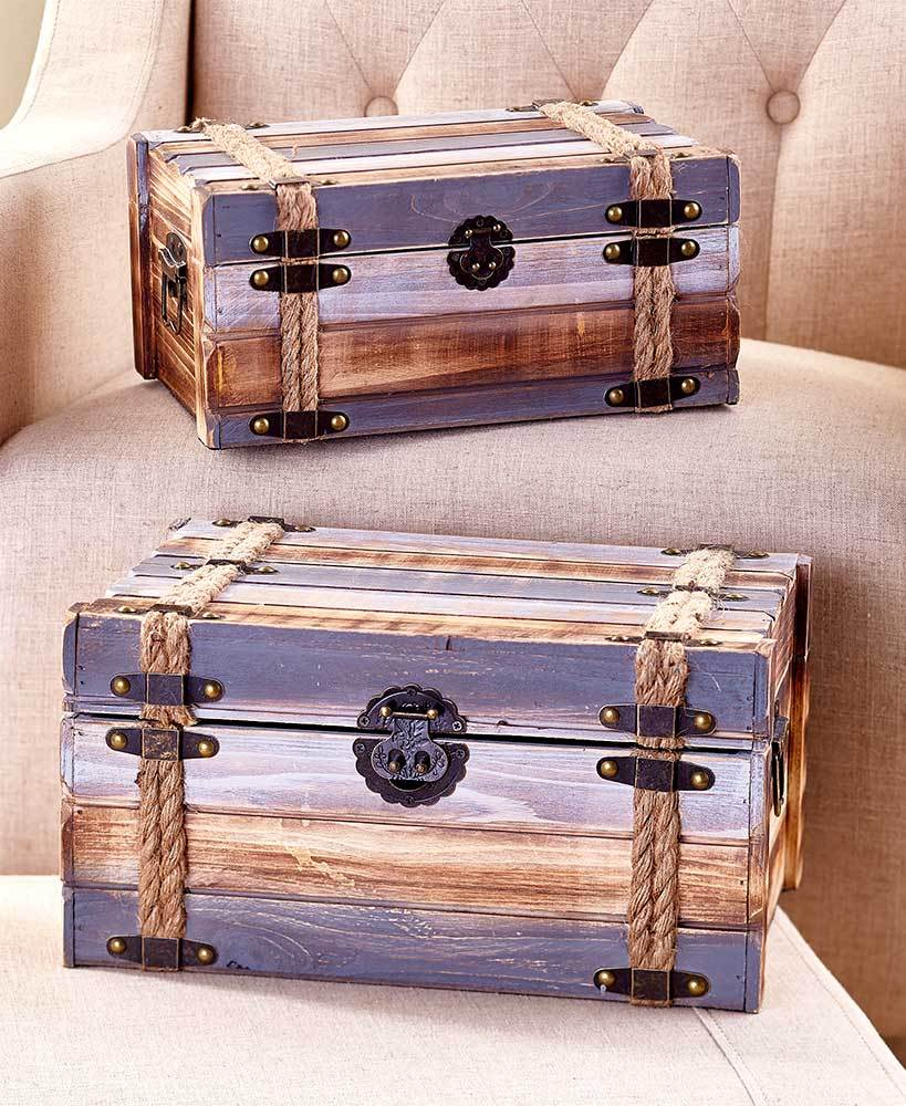 Sets of 2 Wood Pallet Trunks Home - Storage Tigerlily and Me
