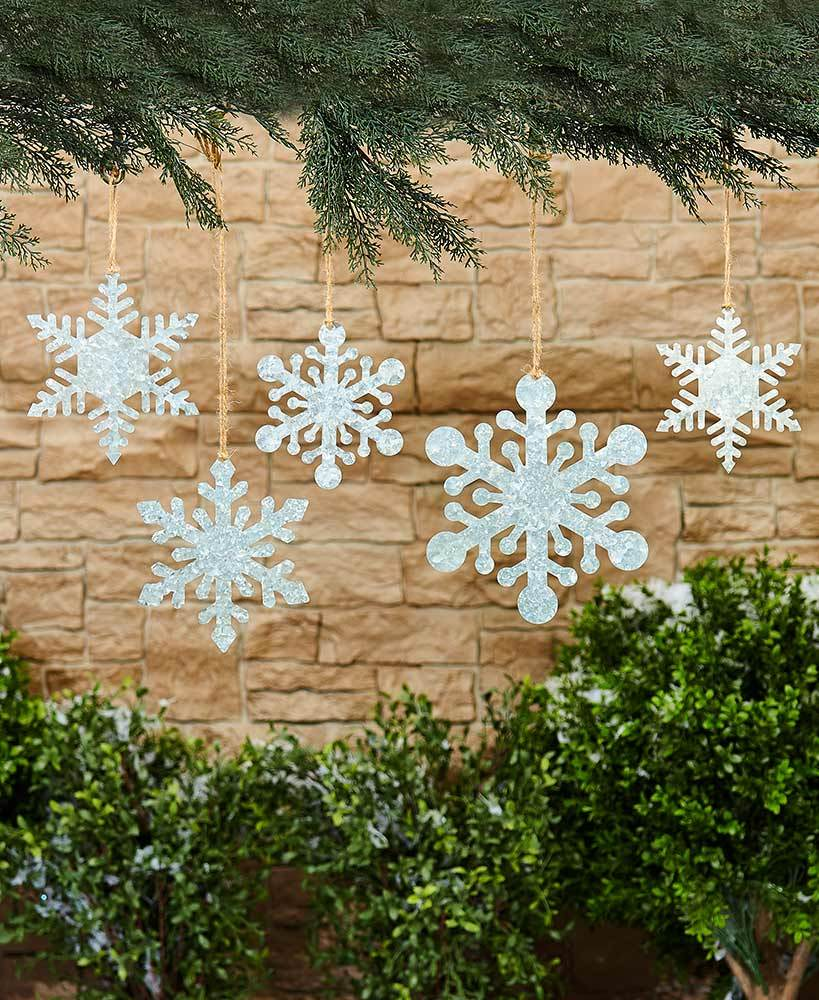 Sets of 5 Hanging or Staked Snowflakes Party Decoration Tigerlily and Me