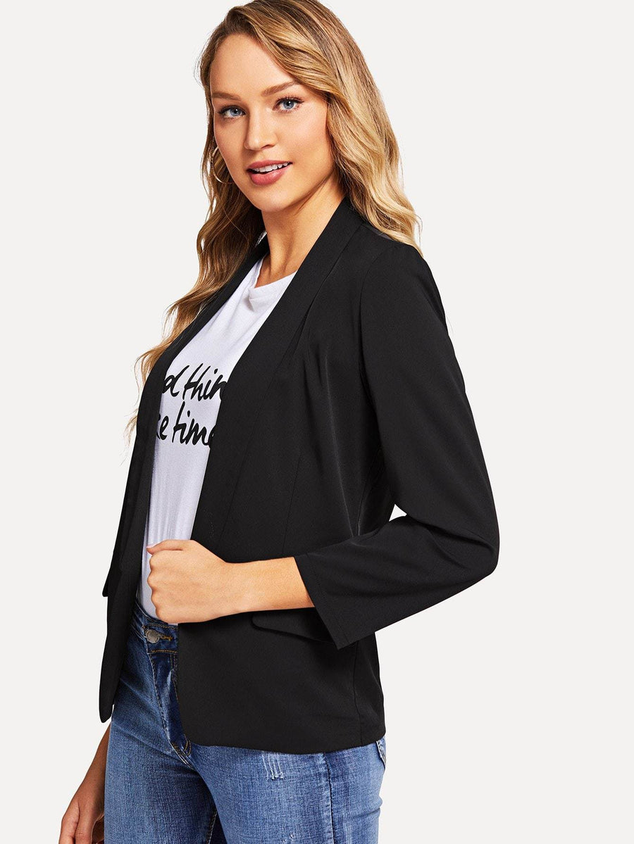 Shawl Collar Solid Blazer Women - Apparel - Jackets & Coats Tigerlily and Me