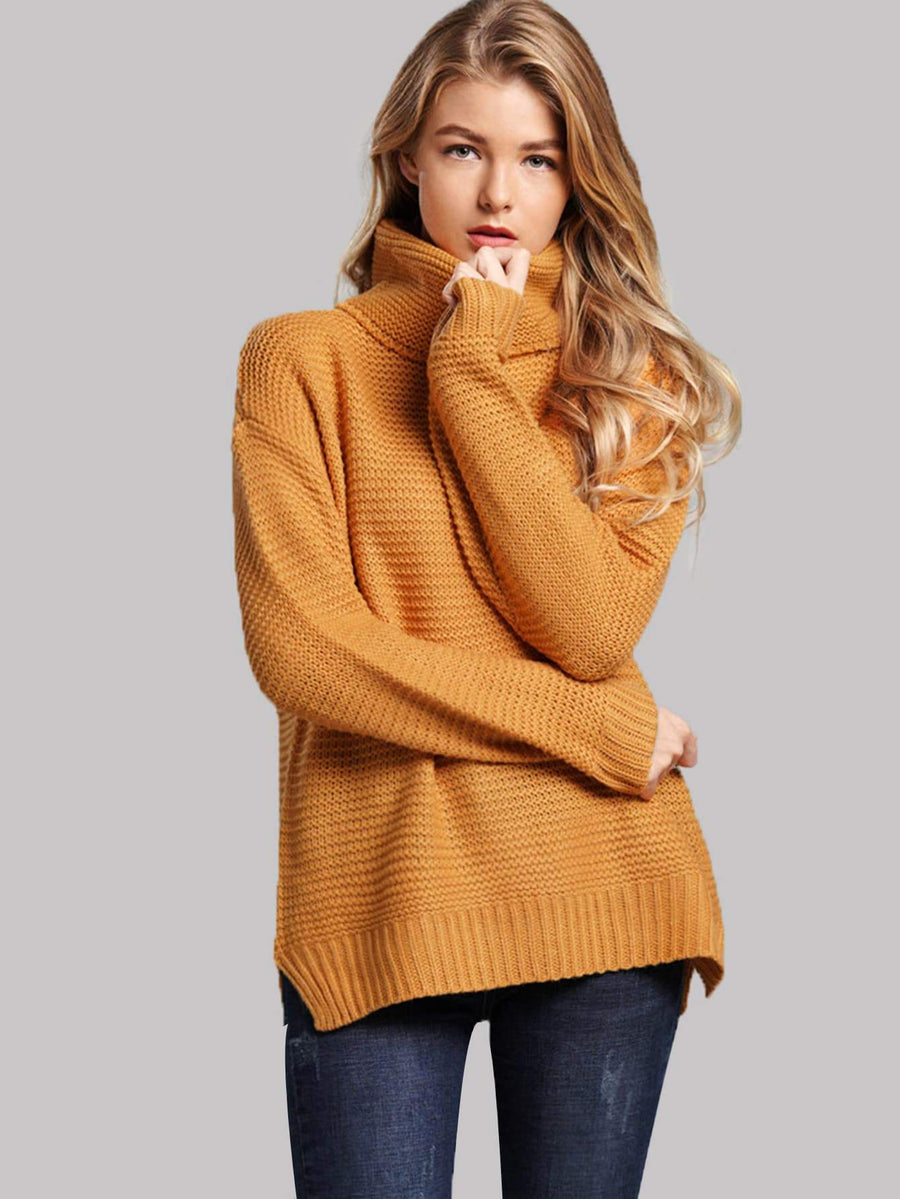 Split Side High Neck Sweater Women - Apparel - Sweaters Cardigans and Tops Tigerlily and Me