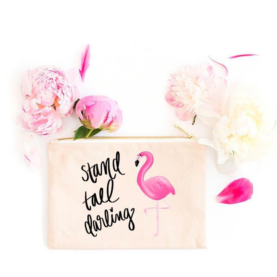 Stand Tall Darling Flamingo Cosmetic Bag
