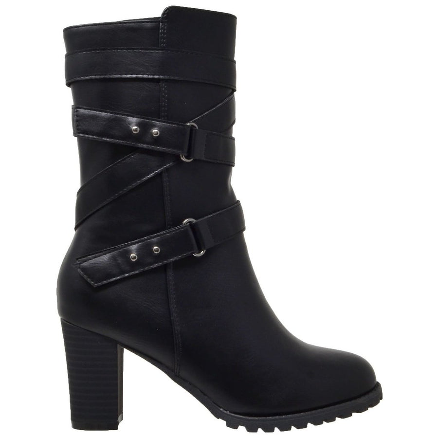 Strappy Block Heel Mid Calf Boot - Black