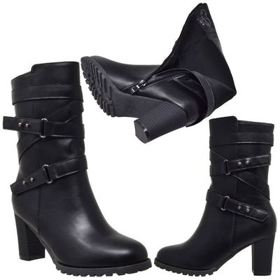 Strappy Block Heel Mid Calf Boot - Black Women - Shoes Tigerlily and Me