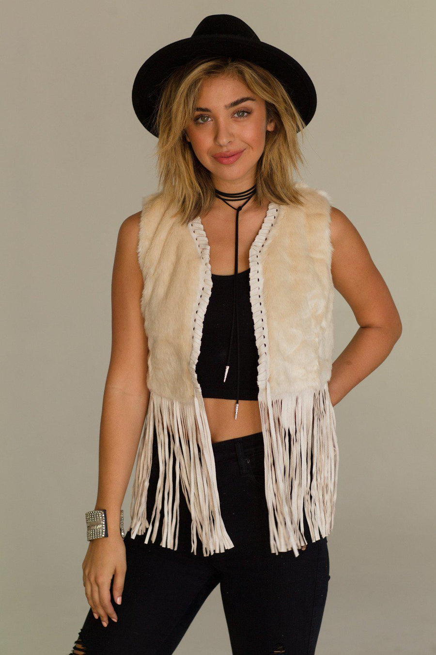 The Nomad Faux Fur Vest Woman - Apparel - Vests Tigerlily and Me