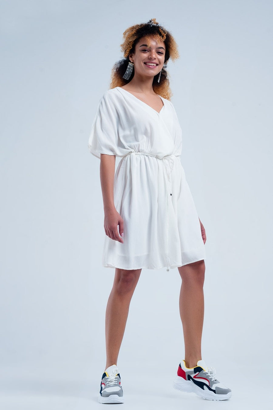 Tie waist midi dress in white Women - Apparel - Dresses - Casual Tigerlily and Me