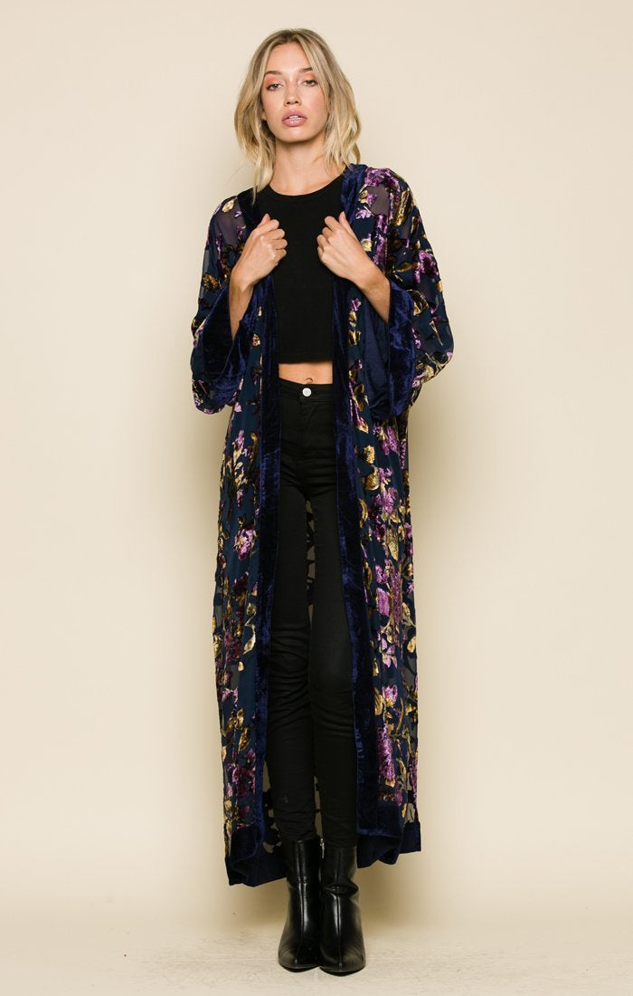 VIOLA VELVET SPLIT SEAM KIMONO Women - Apparel - Sweaters Cardigans and Tops Tigerlily and Me