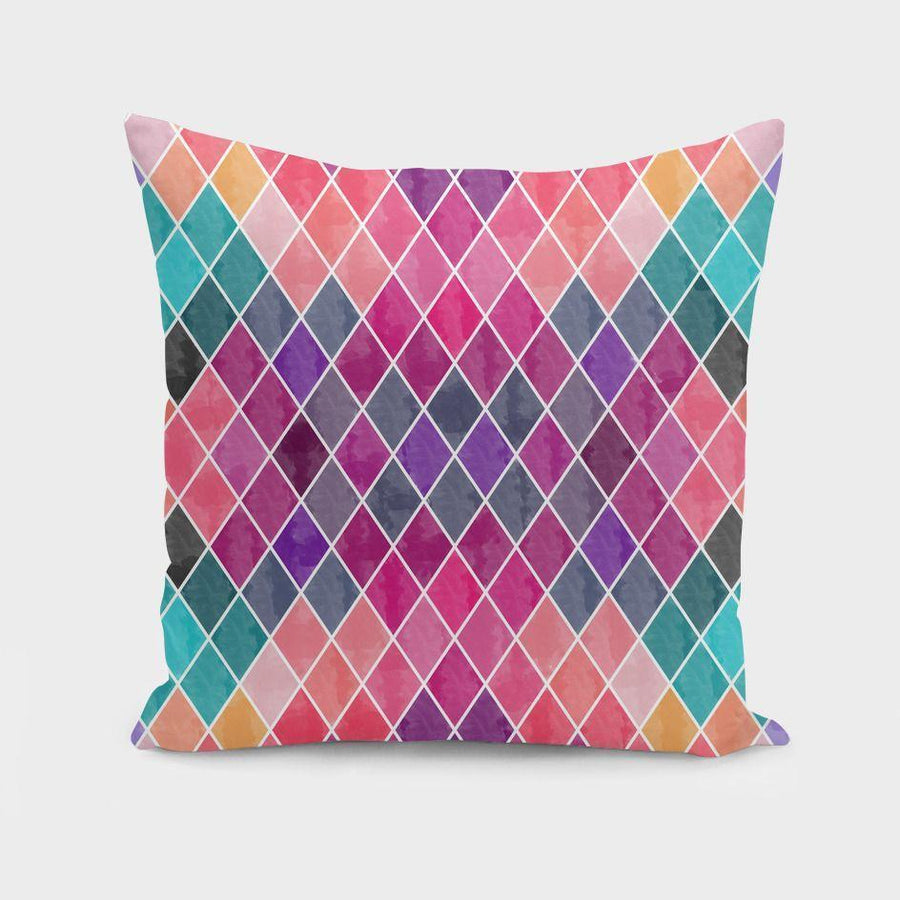 Watercolor Geometric Patterns Pillow