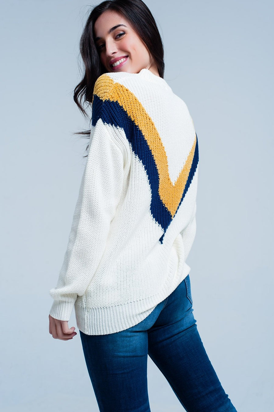 White Sweater with V Shaped Stripes Women - Apparel - Sweaters Cardigans and Tops Tigerlily and Me
