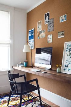 Cork board wall