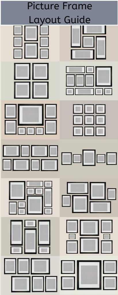 Diagram that shows a few ideas for different picture placements on walls