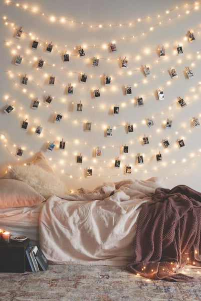 String lights on the wall
