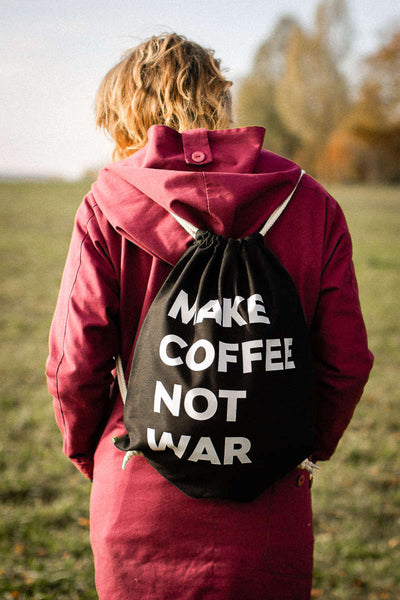 "Turnbeutel ""MAKE COFFEE NOT WAR"""