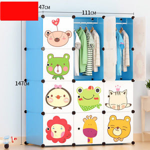 Toytexx Portable DIY Closet Cabinet Wardrobe for Children and Kids Modular Storage Organizer Dresser Hanging Rack Clothes - 12 Cube Set