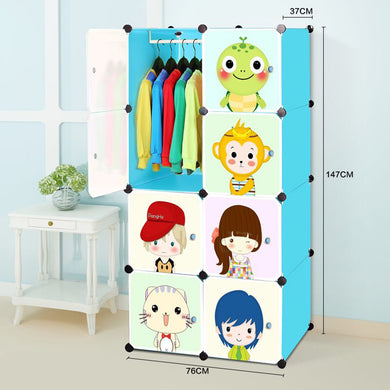 Toytexx Portable DIY Closet Cabinet Wardrobe for Children and Kids Modular Storage Organizer Dresser Hanging Rack Clothes - 8 Cube Set
