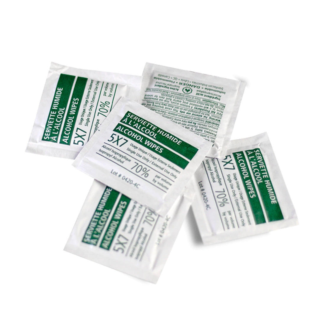 Moist Towelettes Disposable Single Use 70% Alcohol Isopropyl Wipes 5