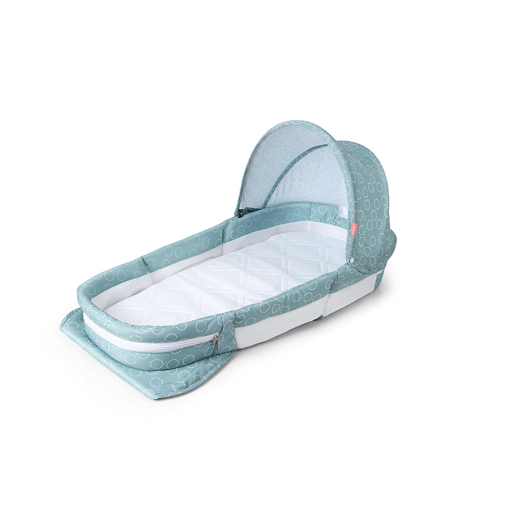 Baby Trace Portable Foldable Infant Bed Sleeper with Waterproof Foam Mattress and Music Box