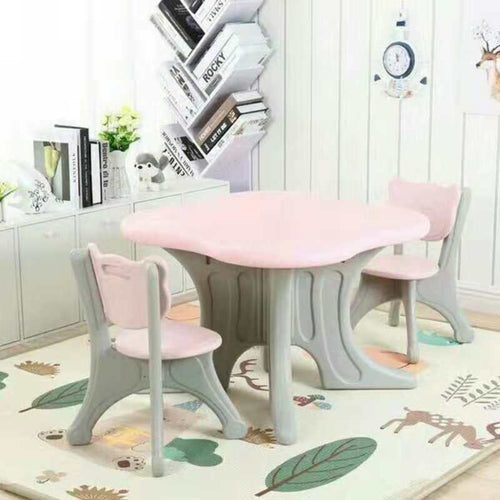 Children's Kids Solid Table and 2 Chairs Set