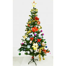 Fully Decorated Christmas Pine Tree with LED Multicolor Lights and Stand