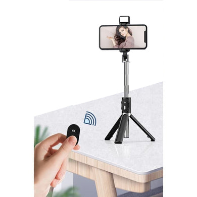 P60D Extendable Tripod 360° Rotation Portable Mobile Phone Selfie Stick with Bluetooth Remote, Filler Light - Black