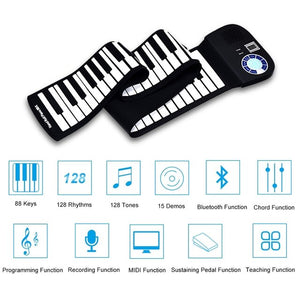 88-Key Roll-Up Digital Piano Rechargeable Electronic Silicone Keyboard - Black