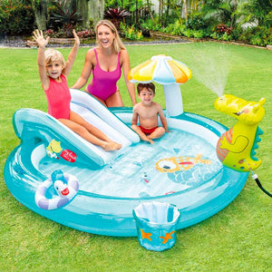 Kids Outdoor Inflatable Gator Kiddie Pool with Slide - 200 x 170 x 84 cm