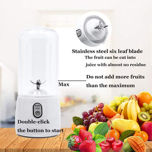 Portable Blender USB Rechargeable with 6 Blades Juicer Smoothie Cup, 4000mAh 14.5 oz (410 ml) - QC-888