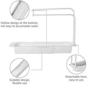 Telescopic Sink Rack Holder Expandable Storage Drain Basket Sink Caddy for Home Kitchen Kit