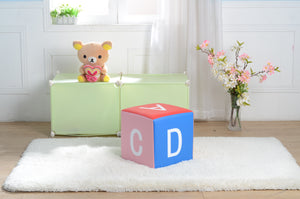 Kids Children's PU Leather Learning Upholstered Stool Toddler Chair - Letters - MSF02
