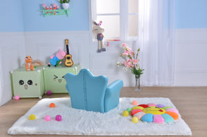 Kids Children Diamond Crown PU Leather Sofa Set with Footstool - Blue - MSF14