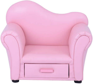 Kids Children's Curved Back Sofa Chair with Storage Drawer - Pink