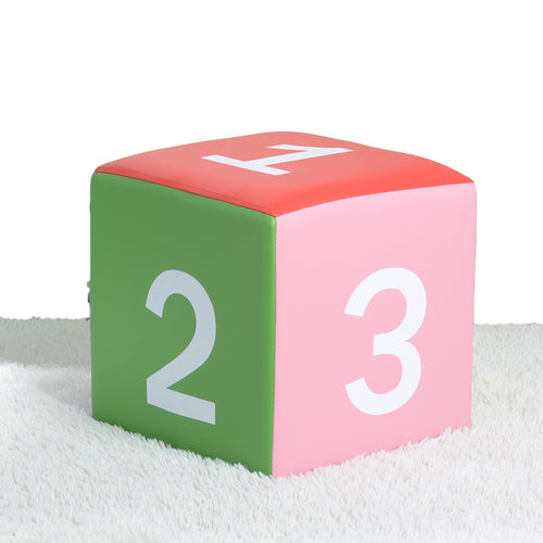 Kids Children's PU Leather Learning Upholstered Stool Toddler Chair - Numbers - MSF01