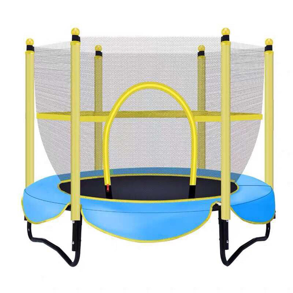 Toytexx Kids Outdoor Trampoline Set Including Jumping Sheet, Padded Net Posts, Safety Net and Edge Cover 100kg - Blue