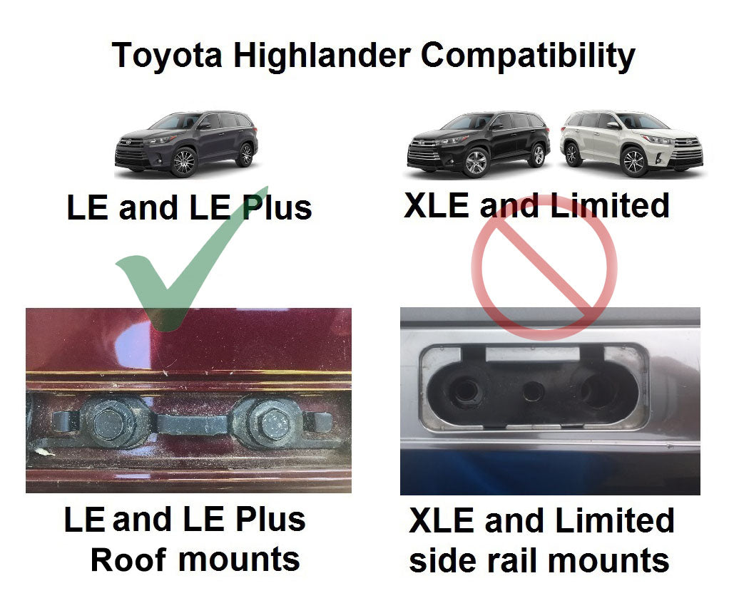 BrightLines Toyota Highlander LE Roof Rack Crossbars 2014-2019