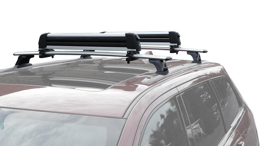 BrightLines Jeep Grand Cherokee Roof Rack Crossbars and Ski Rack Combo 2011-2019 with Black Plastic Moldings
