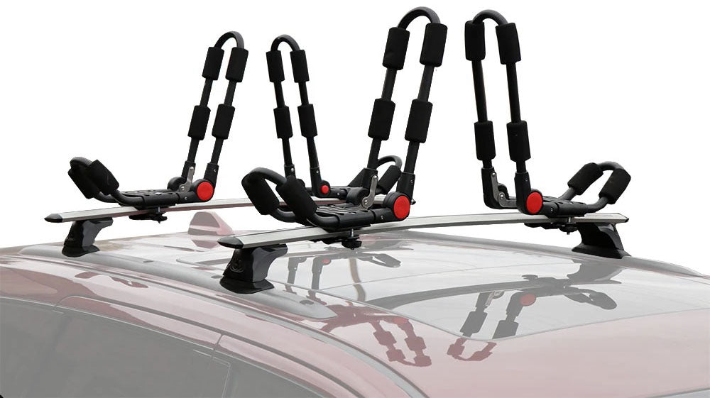 BrightLines Jeep Grand Cherokee Roof Rack Crossbars and 2 sets of Kayak Racks Combo 2011-2019 with Black Plastic Moldings - ASG AUTO SPORTS