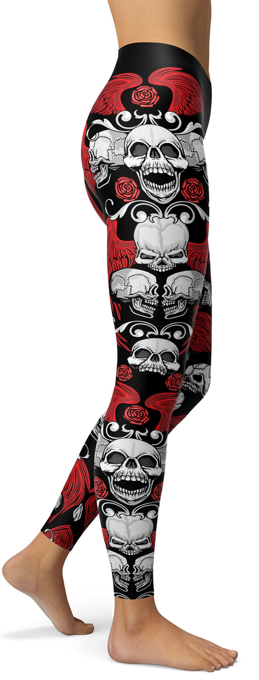 Winged Red Skull Leggings