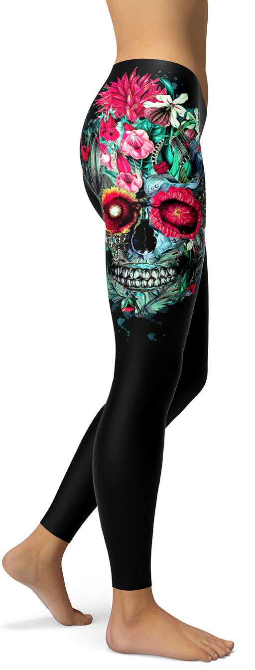 Black Floral Skull Leggings