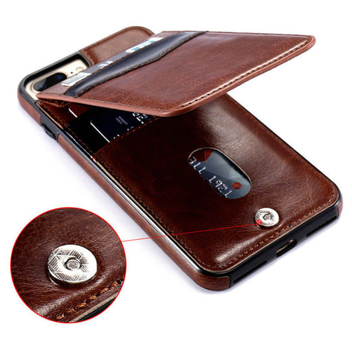 Modern Slim Leather Stand ID Flip Case for iPhone