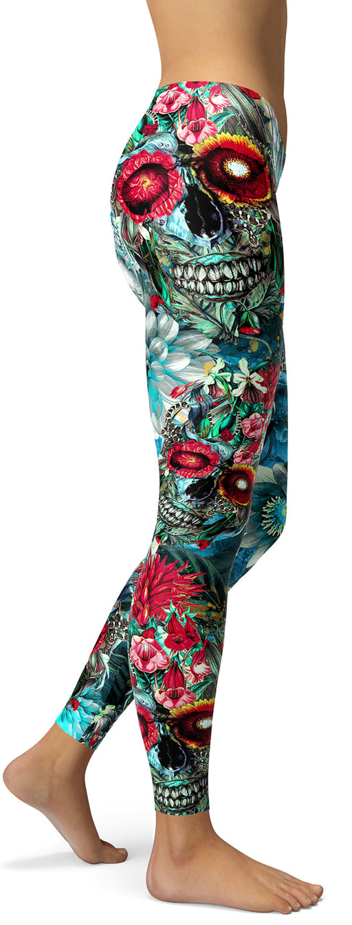 Teal Floral Skull Leggings