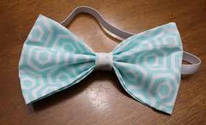 Aqua Hexagon Bowtie/Headband