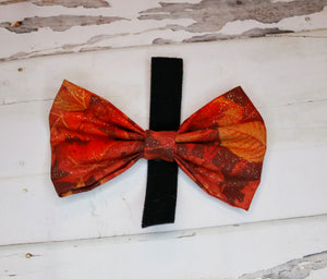Fall Sparkly Leaves Bowtie/Headband