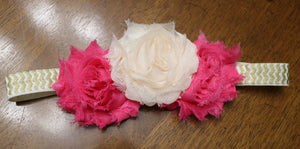 Pink & White Flowers with Gold Headband