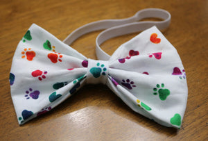 White Multi Paw Prints Bowtie/Headband