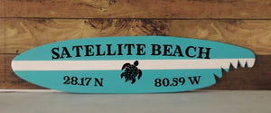"22"" GPS Coordinate Surfboard Wall Hanging Sharkbite"
