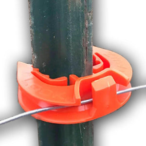 Lock Jawz 360° T-Post Insulator | 100 Pack | Orange - Gallagher Electric Fence