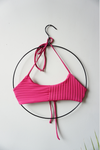 String Top in Ribbed Fuchsia